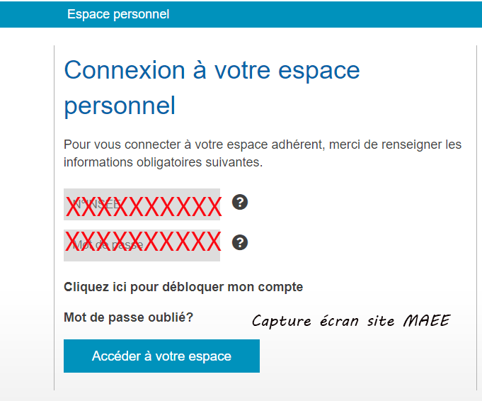 Se connecter compte maee